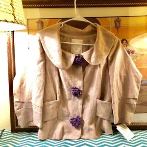 Tracy Reese linen spring 3/4 sleeves jacket